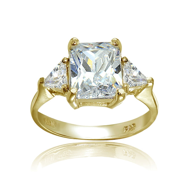 Yellow Gold Flashed Sterling Silver CZ Trillion and Emerald Cut Engagement Ring