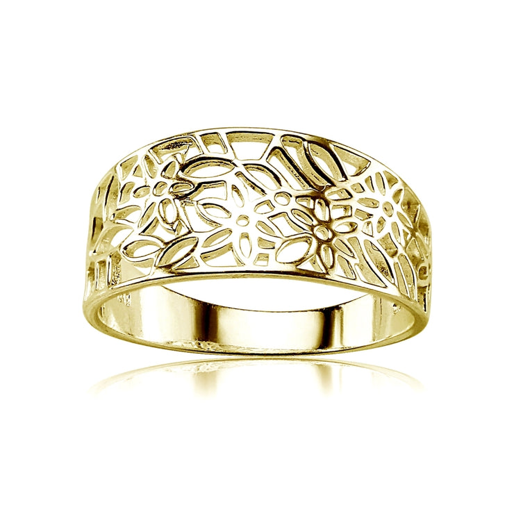 Yellow Gold Flashed Sterling Silver Polished Filigree Flower Ring,