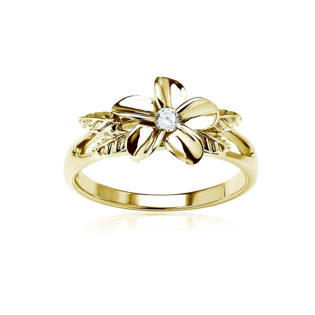 Yellow Gold Flashed Sterling Silver Cubic Zirconia Petal Flower Ring,