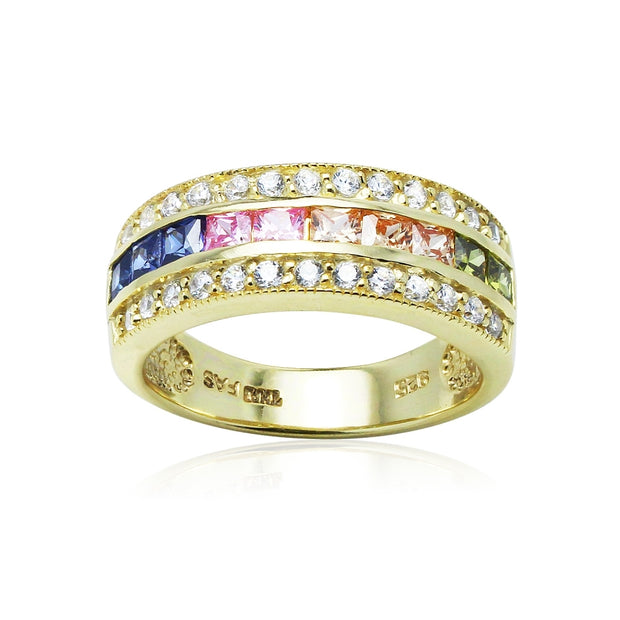 Yellow Gold Flashed Sterling Silver Multi-Color Cubic Zirconia Channel Set Fashion Ring,