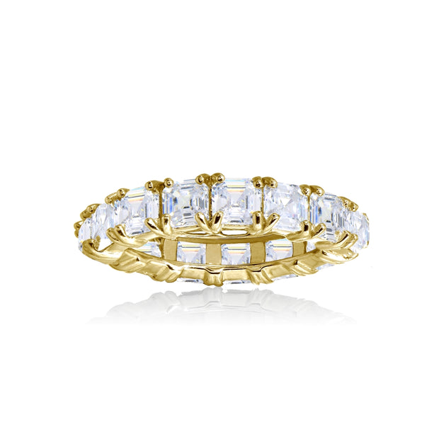 Yellow Gold Flashed Sterling Silver Cubic Zirconia 4mm Octagon Asscher-Cut Anniversary Eternity Band Ring,