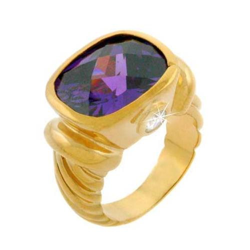 1K Gold Over Sterling Silver Purple CZ Ring
