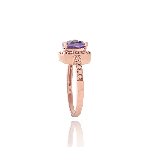 1K Rose Gold over Sterling Silver Amethyst & Diamond Accent Ring