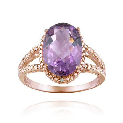 18K Rose Gold over Sterling Silver 4ct Amethyst & Diamond Accent Oval Ring