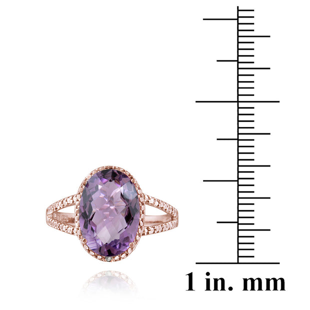 1K Rose Gold over Sterling Silver 4ct Amethyst & Diamond Accent Oval Ring