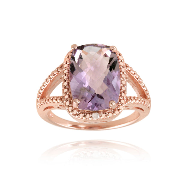 1K Rose Gold over Sterling Silver .1 ct Amethyst & Diamond Accent Cushion Cut Ring