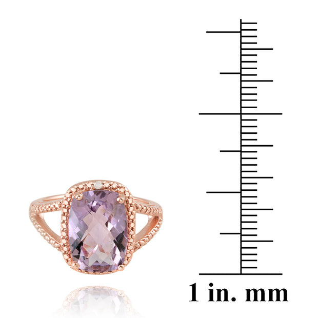 18K Rose Gold over Sterling Silver 5.1 ct Amethyst & Diamond Accent Cushion Cut Ring