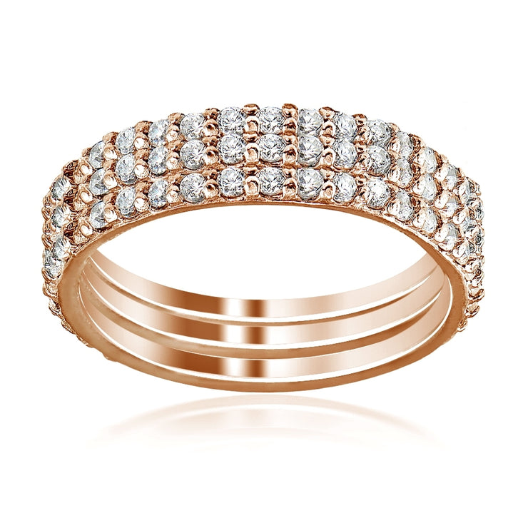 Rose Gold Tone over Sterling Silver Cubic Zirconia Eternity Stackable Wedding Bands Ring 3pc Set