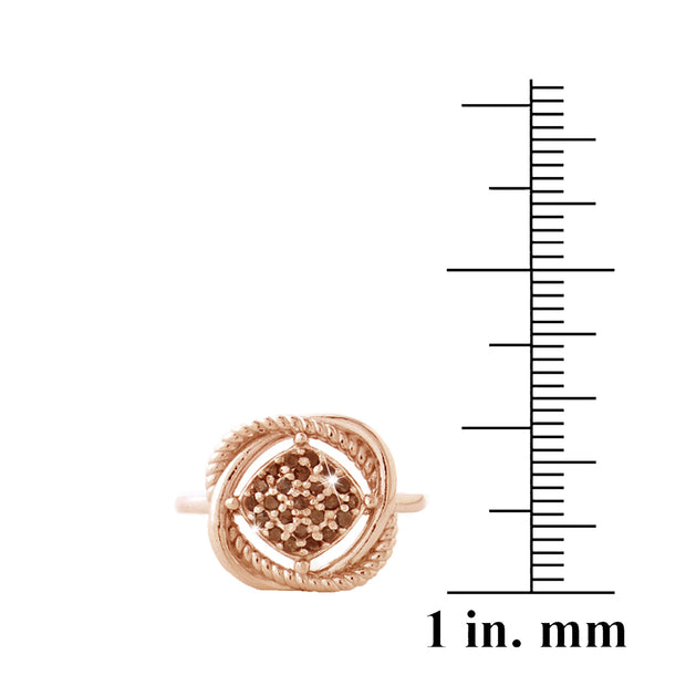 1K Rose Gold over Sterling Silver 1/4ct Red Diamond Love Knot Ring