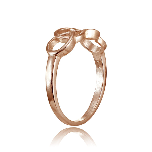 Rose Gold Flashed Sterling Silver High Polished Intertwining Infinity Ring
