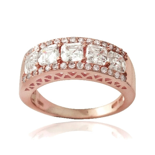 1K Rose Gold over Sterling Silver Asscher Cut CZ Wedding Band Ring
