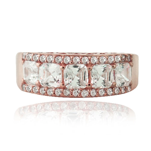 18K Rose Gold over Sterling Silver Asscher Cut CZ Wedding Band Ring