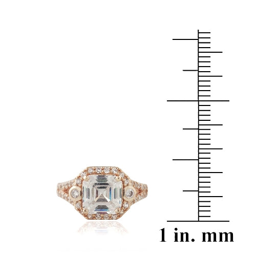 1K Rose Gold over Sterling Silver 3ct Asscher Cut CZ Split Shank Ring