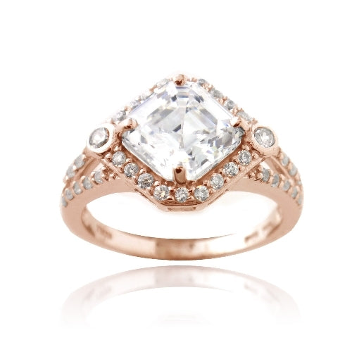 1K Rose Gold over Sterling Silver 3ct Asscher Cut CZ Geometric Split Shank Ring