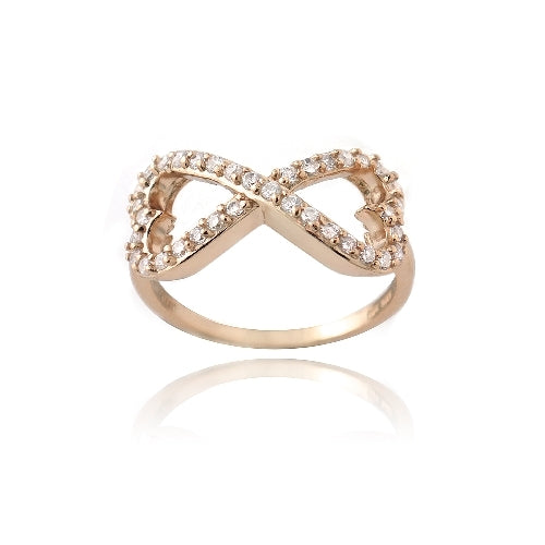 Rose Gold Tone over Sterling Silver CZ Infinity Hearts Ring