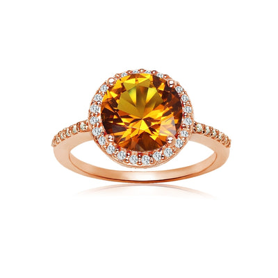 Rose Gold Flashed Silver Simulated Citrine and Cubic Zirconia Round Halo Ring, Size 10