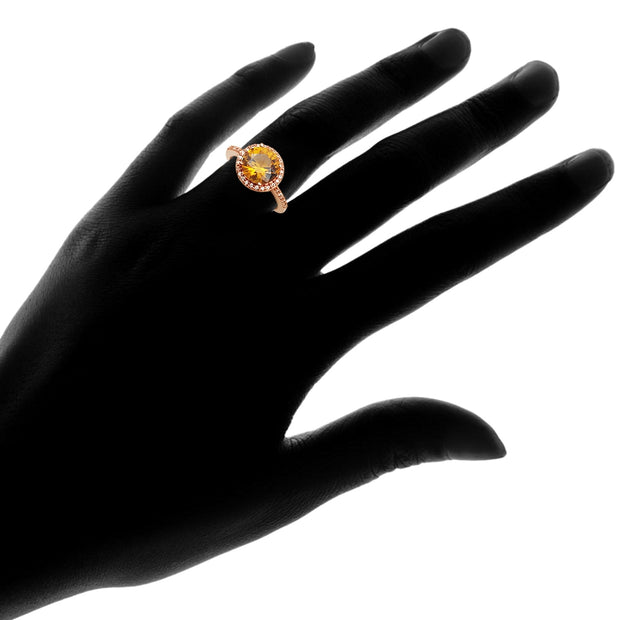 Rose Gold Flashed Silver Created Citrine and Cubic Zirconia Round Halo Ring,