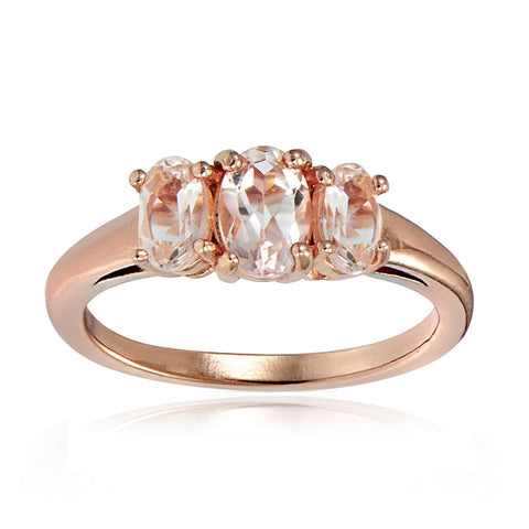 18k Rose Gold over Silver 0.50ct Morganite 3-Stone Ring