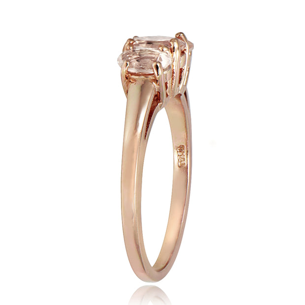 1k Rose Gold over Silver 1/2 ct Morganite 3-Stone Ring