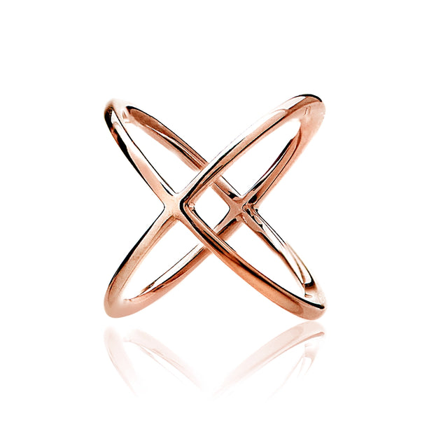 Rose Gold Tone over Sterling Silver Polished Criss-Cross X Ring