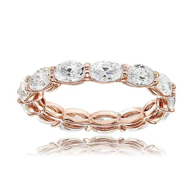 1K Rose Gold over Silver Cubic Zirconia x3mm Oval-cut Eternity Band Ring