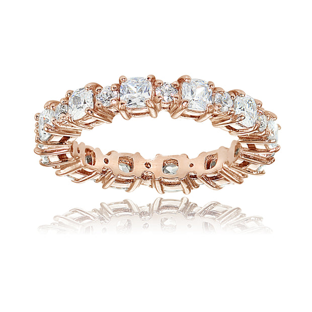 1K Rose Gold over Silver Cubic Zirconia Cushion & Round-cut Eternity Band Ring