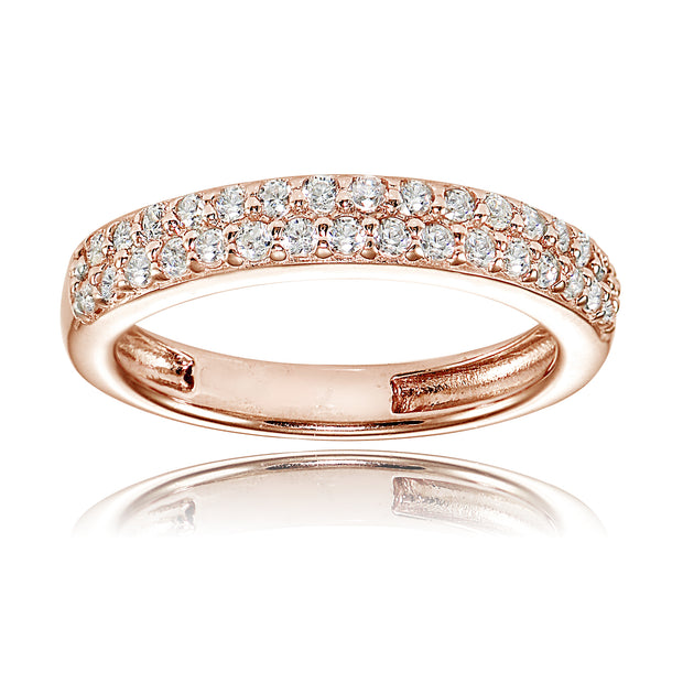 1K Rose Gold over Silver Cubic Zirconia 2-row Round-cut Eternity Band Ring