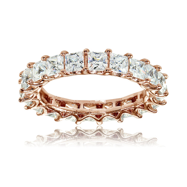 1K Rose Gold over Silver Cubic Zirconia 3mm Princess-cut Eternity Band Ring