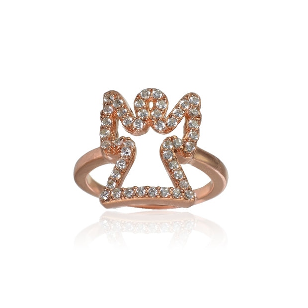 Rose Gold Flashed Sterling Silver Cubic Zirconia Angel Ring