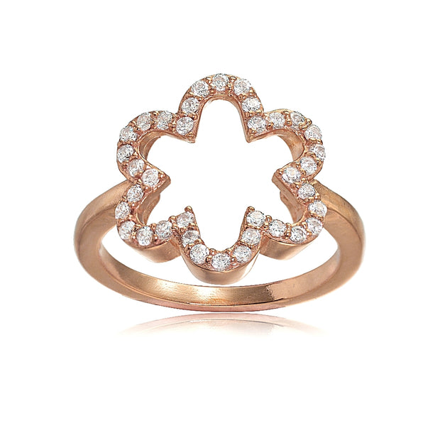 Rose Gold Flashed Sterling Silver Cubic Zirconia Open Flower Ring,