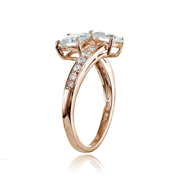 Rose Gold Flashed Sterling Silver Cushion-cut Cubic Zirconia Friendship Engagement Ring