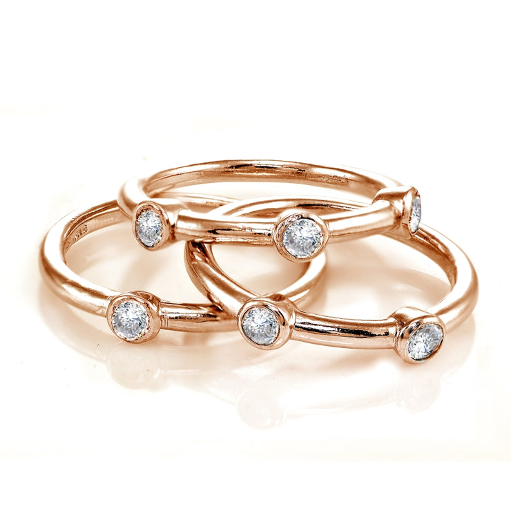 Rose Gold Flashed Sterling Silver Cubic Zirconia Set of 3 Stackable Bezel-set Band Rings