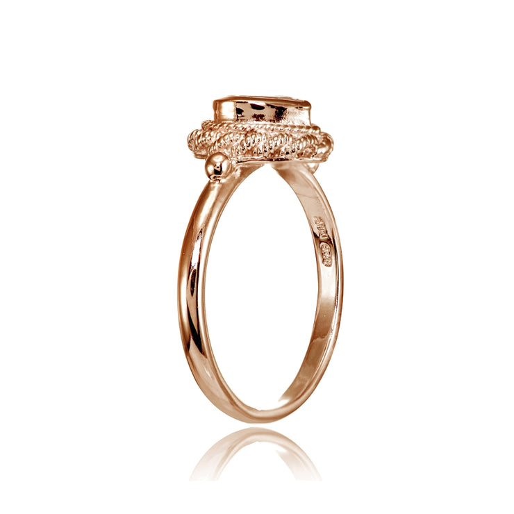 Rose Gold Flashed Sterling Silver Cubic Zirconia Heart Ring