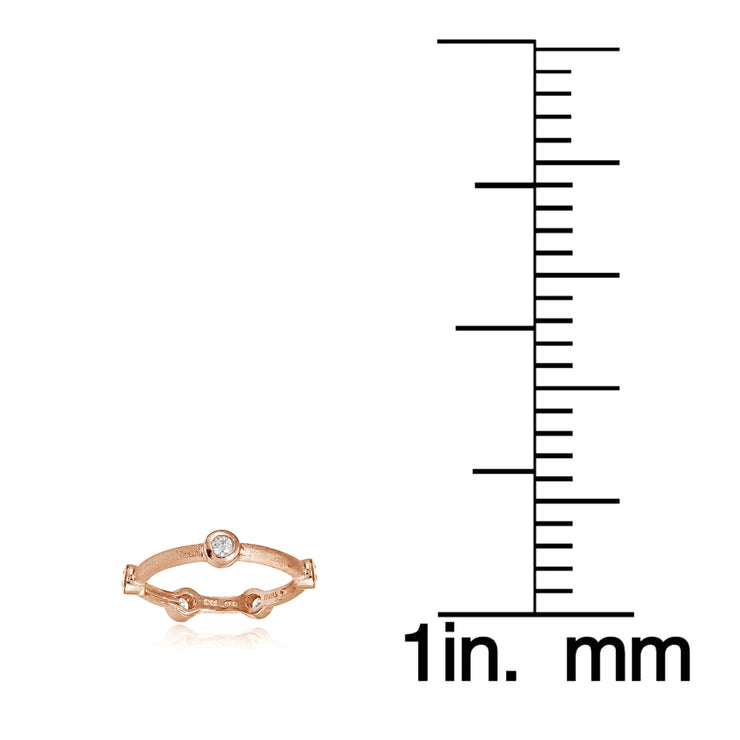 Rose Gold Flashed Sterling Silver Brushed Satin Cubic Zirconia Ring