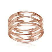 Rose Gold Flashed Sterling Silver High Polished Multi Wrap Band Ring,