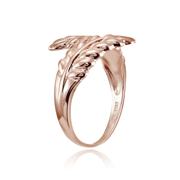 Rose Gold Flashed Sterling Silver High Polished Leaf Wrap Ring