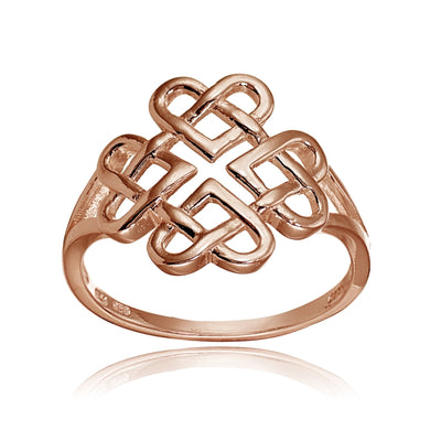 Rose Gold Flashed Sterling Silver High Polished Cletic Love Knot Ring