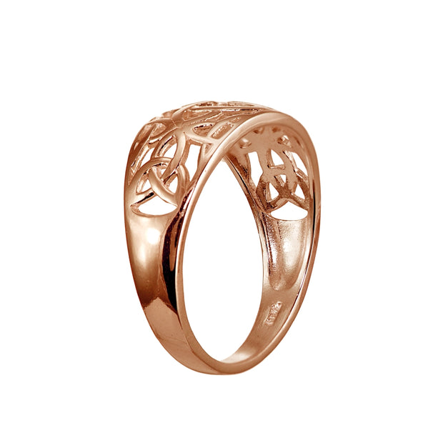 Rose Gold Flashed Sterling Silver High Polished Filigree Cletic Knot Ring
