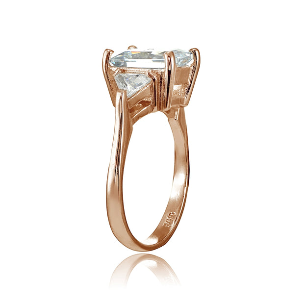 Rose Gold Flashed Sterling Silver CZ Trillion and Emerald Cut Engagement Ring