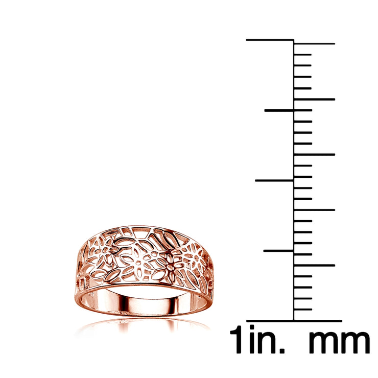 Rose Gold Flashed Sterling Silver Polished Filigree Flower Ring,