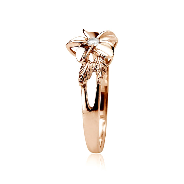 Rose Gold Flashed Sterling Silver Cubic Zirconia Petal Flower Ring,