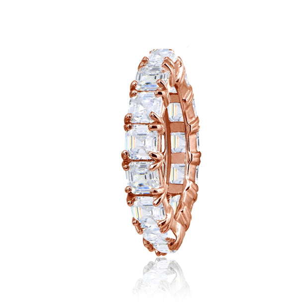 Rose Gold Flashed Sterling Silver Cubic Zirconia 4mm Octagon Asscher-Cut Anniversary Eternity Band Ring,