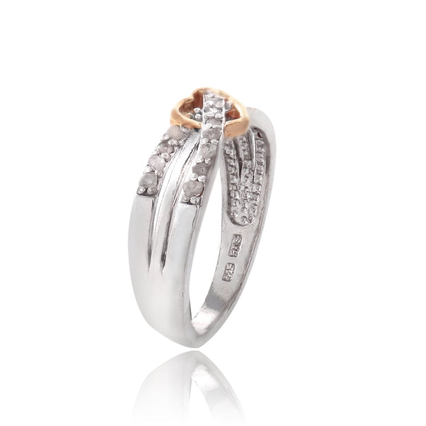 Sterling Silver Rose Gold Two-Tone 1/ ct Diamond Twist & Heart Promise Ring