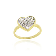 1K Gold over Sterling Silver CZ Micro Pave Heart Two-Tone Ring