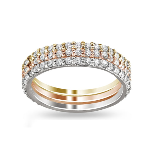 Sterling Silver Tri-Color Stackable CZ Eternity Band Ring Set