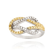Sterling Silver Two-Tone Yellow Diamond Accent Love Knot Ring