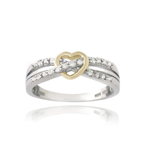 Sterling Silver Two-Tone 1/5ct Diamond Twist & Heart Promise Ring