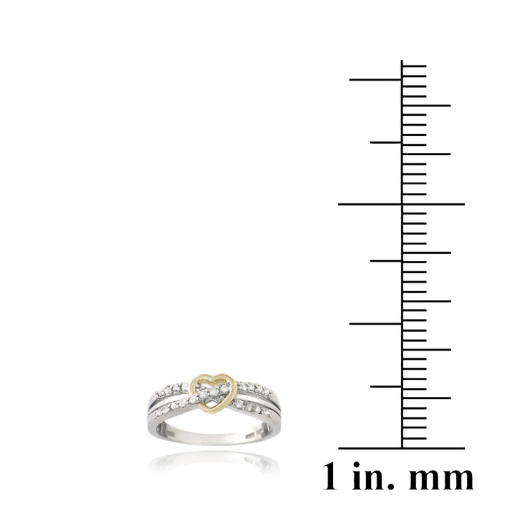 Sterling Silver Two-Tone 1/ ct Diamond Twist & Heart Promise Ring