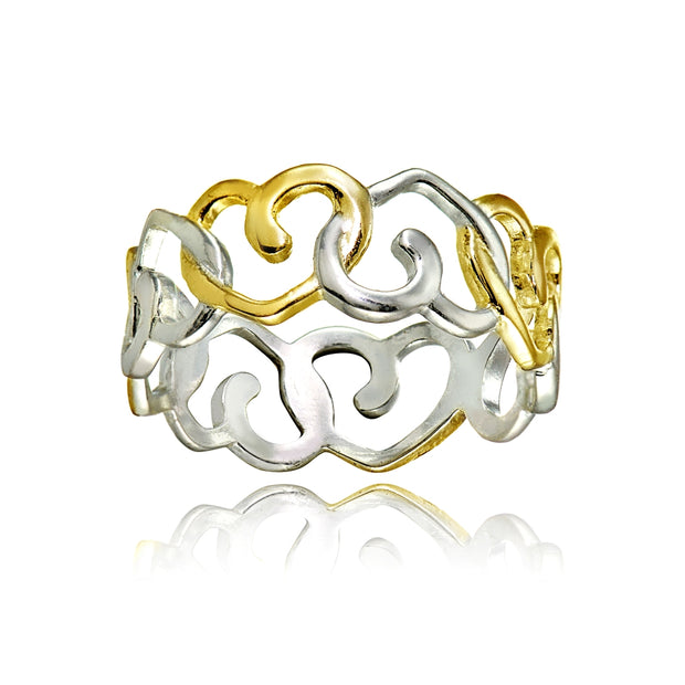 Sterling Silver Two-Tone Intertwining Hearts Eternity Band Ring