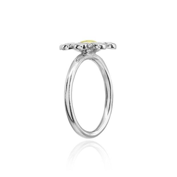 Sterling Silver Two-Tone High Polished Simple Flower Ring,